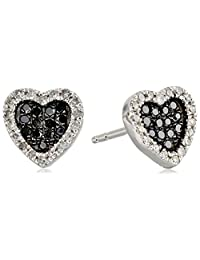 Sterling Silver 1/3 Cttw Black and White Diamond Heart Stud Earrings (1/3 Cttw, J Color, I2-I3 Clarity)