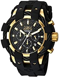 Invicta Mens Bolt Quartz Stainless Steel and Silicone Casual Watch, Color:Black (Model: 23861)