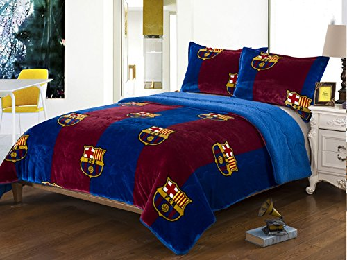 FCBarcelona 3pcs Sherpa Set Queen Size, Blanket Set with 2 pillow shams