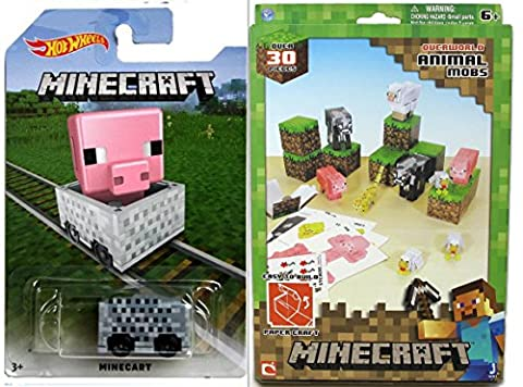 MineCart Hot Wheels Pig Character Exclusive with Minecraft Papercraft 30 Piece Animal Mobs Ride-Ons Compatible with Minecraft Character Mini (Mini Mine Craft Characters)