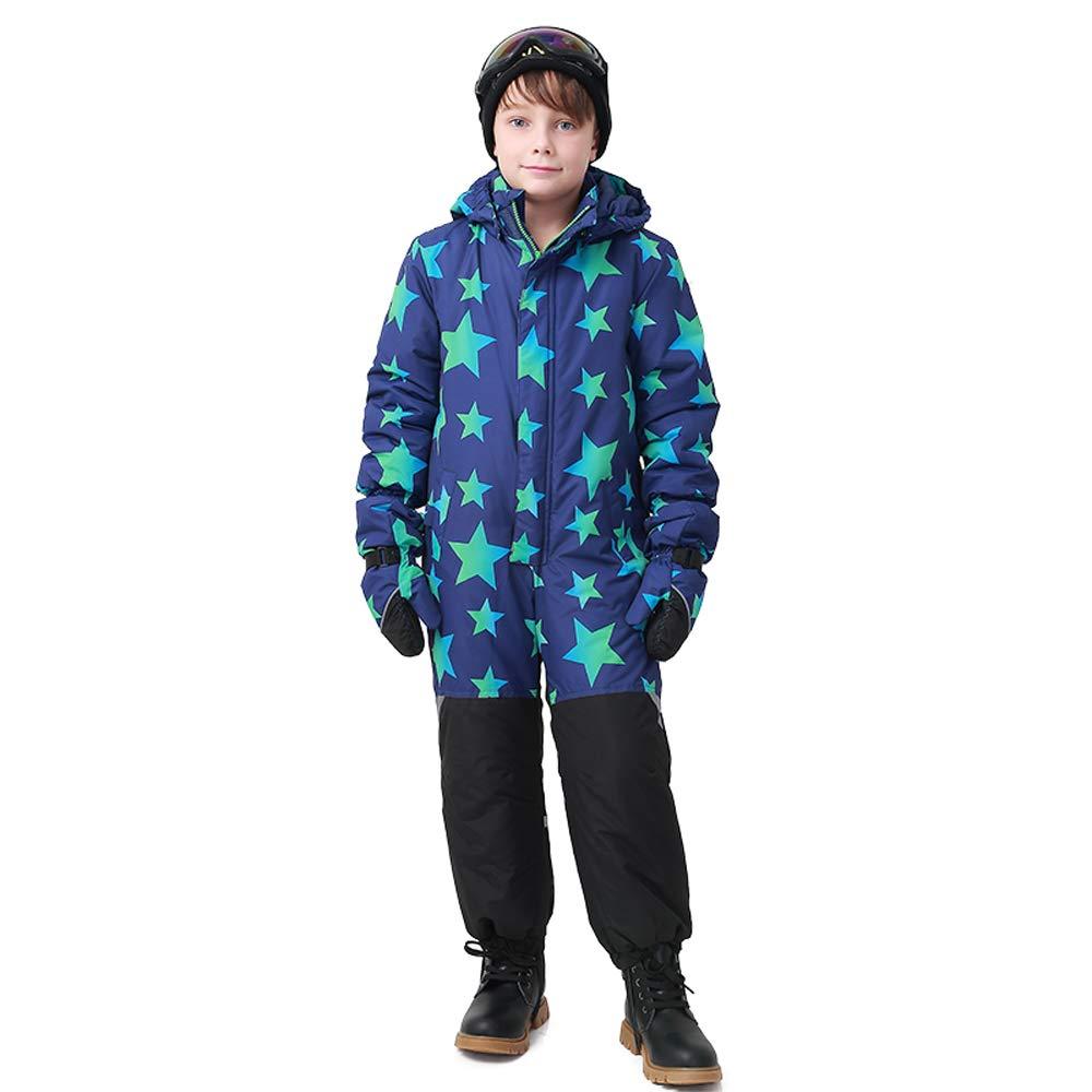 Wonny One Piece Snowsuit Kids Waterproof Boys Skisuit Blue Black Star SK0022