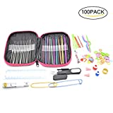 100pcs 22 Sizes Crochet Hooks Set, 0.6mm-6.5mm Knitting Needles Kit with Wide Thumb Placed Flat, 20 Locking Stitch Markers and Other Crochet Tools