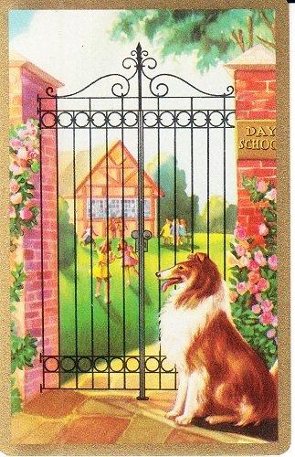 1 Vintage 1950 Swap Playing Card COLLIE DOG LASSIE AT SCHOOL GATE
