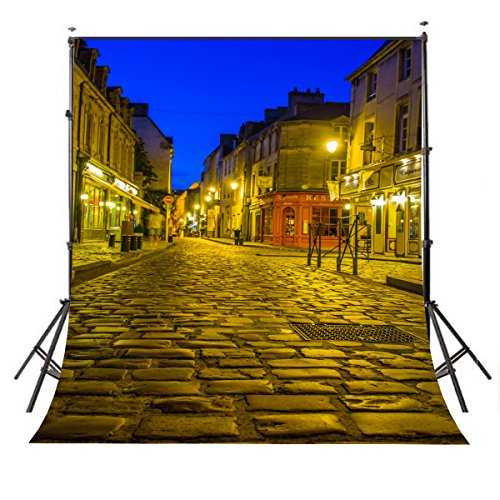 LYLYCTY 5x7ft Golden Lights Street Photography Backdrops City Street Night View Photo Background Scene Simulation Studio Props LY011