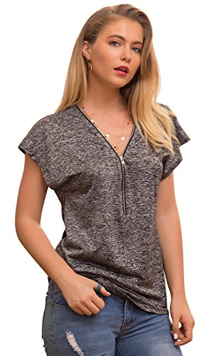 Aliling Womens Casual Zipper Blouse Top Loose V-Neck Tunic Shirt Pullover