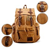 GEARONIC TM Men's Outdoor Vintage Canvas Backpack Military Travel Hiking Camping School Shoulder Bag Fit for Notebook Macbook 11 , 13, 15 inch Air Pro Laptop - Yellow