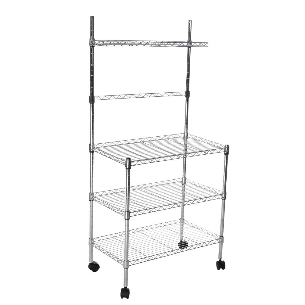 US Fast Shipment Quaanti 3-Layer Microwave Storage Rack with Wheel Storage Rack with Spice Rack,Shelving Storage Unit on Rolling Wheels,Kitchen & Dining Room Cart Storage Rack Organizer (Silver)