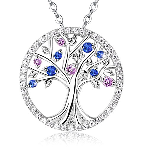 October Birthstone Pink Tourmaline and Blue Sapphire Pendant Necklace Sterling Silver Tree of Life Jewelry Gifts for Woman