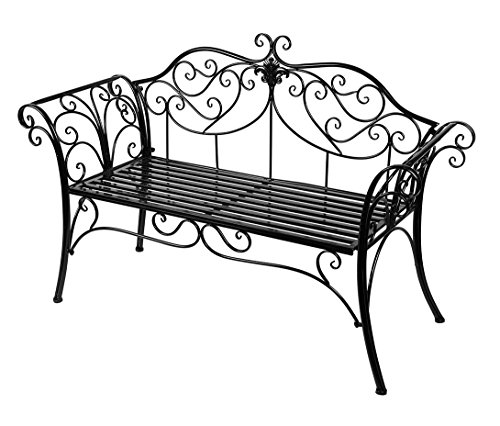 HLC Black Outdoor Romance Two Seat Bench for Garden Park (Wrought Iron Outdoor Benches)