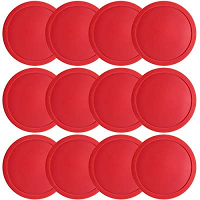 Brybelly One Dozen Large 3 1/4 inch Red Air Hockey Pucks for Full Size Air Hockey Tables : Sports & Outdoors