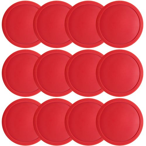 Brybelly One Dozen Large 3 1/4 inch Red Air Hockey Pucks for Full Size Air Hockey Tables by Brybelly