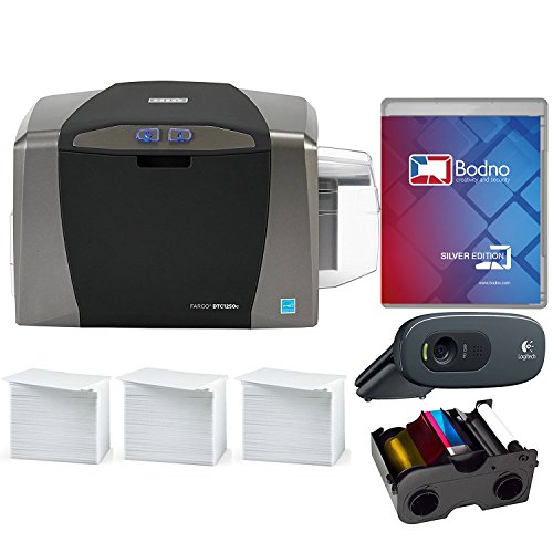 Fargo DTC1250e Single Sided ID Card Printer & Complete Supplies Package with Bodno Silver Edition Software (Link Laser Software)