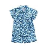Baby Boys Girls Japanese Kimono Jinbei Kids Romper Bodysuit Clothes Shirt+Pants Outfits Pyjamas Clothes 2Pcs/Set (G Blue,3-4Y)