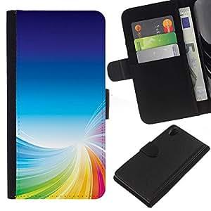 // PHONE CASE GIFT // Moda Estuche Funda de Cuero Billetera Tarjeta de crédito dinero bolsa Cubierta de proteccion Caso Sony Xperia Z2 D6502 / Colorful Tornado /