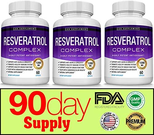 Resveratrol Supplement 1200 mg Antioxidant Complex - Highly Potent Natural Trans-Resveratrol Pills for Anti-Aging, Cardiovascular Support, Immune System and Brain Function, for Men Women, 60 Capsules