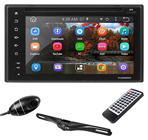 Premium 6In Double-DIN Android Car Stereo Receiver With Bluetooth and GPS Navigation - DVR Dash Cam, Rearview Backup Camera - Touchscreen Display With Wi-Fi Web Browsing And App Download (PLDNAND623) Cameras Dvr Cd