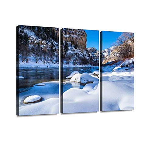 Glenwood Canyon Scenic Area in Winter Print On Canvas Wall Artwork Modern Photography Home Decor Unique Pattern Stretched and Framed 3 Piece