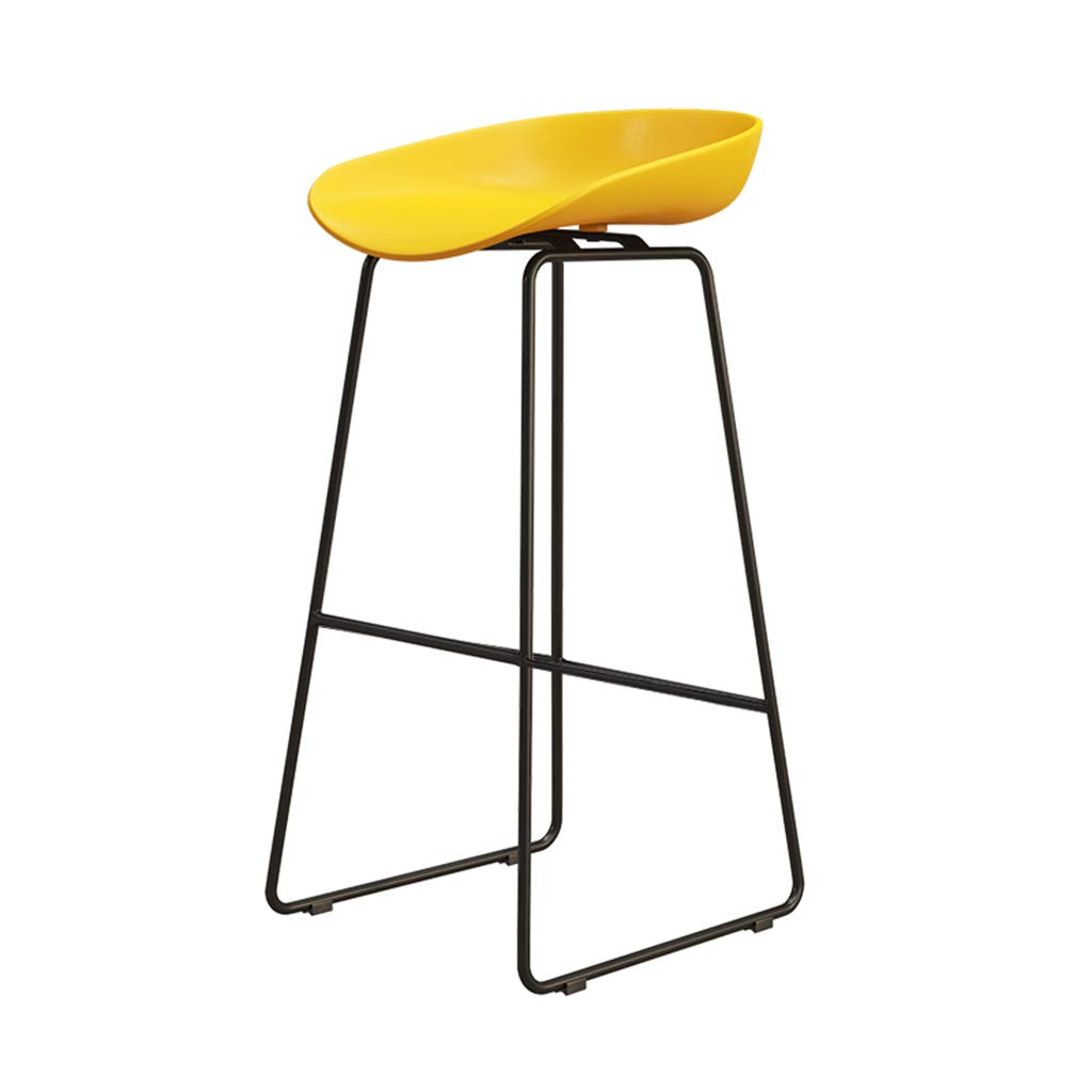 Yellow 75cm DingHome-ca Barstools - Wrought Iron Simple Fashion Breakfast High Chair Creative Bar Stool gold Kitchen Bar Counter