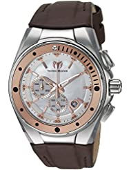 Technomarine Womens Manta Quartz Stainless Steel and Leather Casual Watch, Color:Brown (Model: TM-216003)