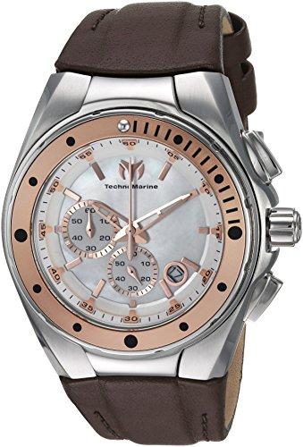 Technomarine Women's Manta Stainless Steel Quartz Watch with Leather Calfskin Strap, Brown, 25 (Model: TM-216003