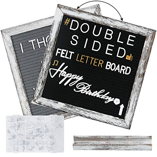 Double Sided Felt Letter Board- with 560 Pre-Cut 2 Size White & Gold Letters Sorted in Organizer- 10x10 Grey and Black Changeable Letterboard Message Board Sign, Wall & Tabletop Display, by NEARPOW (Message Board Rustic)