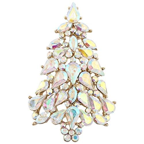 Ab Rhinestone Brooch (EVER FAITH Party Wishing Tree Teardrop Iridescent Clear AB Austrian Crystal Brooch Pin Gold-Tone)