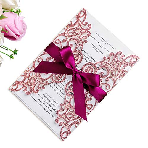 - PONATIA 25PCS 5.12 x 7.1 '' Laser Cut Rose Gold Glitter Wedding Invitations Cards with Burgundy Ribbons for Wedding Bridal Shower Engagement Birthday Graduation Invitation Cards (Rose Gold Glitter)