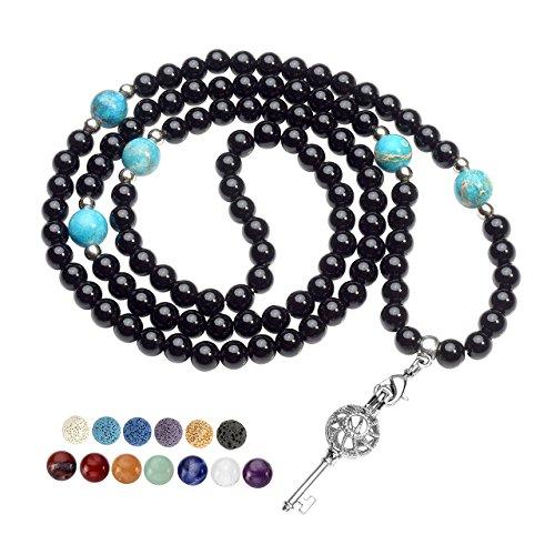 Natural Spiral Wrap - Top Plaza Buddhist Mala 108 Prayer Beads Natural Healing Black Agate Wrap Bracelet/Necklace Spiral Shaped Key Locket Pendant W/ 6 Dyed Lava Beads & 7 Chakra Gemstones