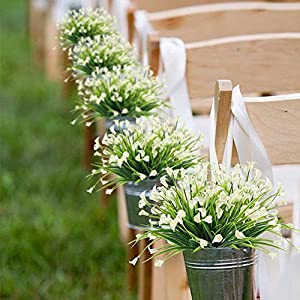 HOGADO Artificial Shrubs, 4pcs Fake Calla Lily Faux Plastic Greenery Plants Flower Arrangement for Home Kitchen Dining Room Hanging Planter Garden Cream 4