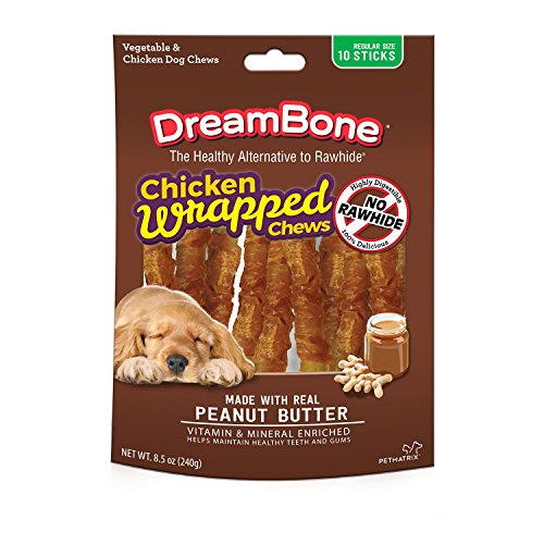 DreamBone Chicken Wrap Reg Stick Peanut Butter 10 Regular Size Sticks (Stick Reg)