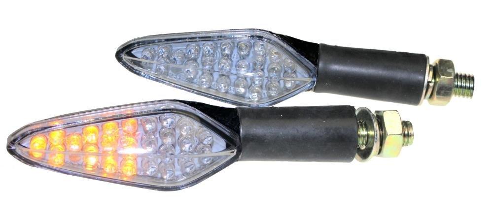Motorrad Mini Blinker LED mit integriertem R/ücklicht Shower schwarz klar E-gepr/üft 4 Kabel M10 f/ür Yamaha Honda Suzuki Kawasaki DT125 CB GS KMX XJ GSX KLR