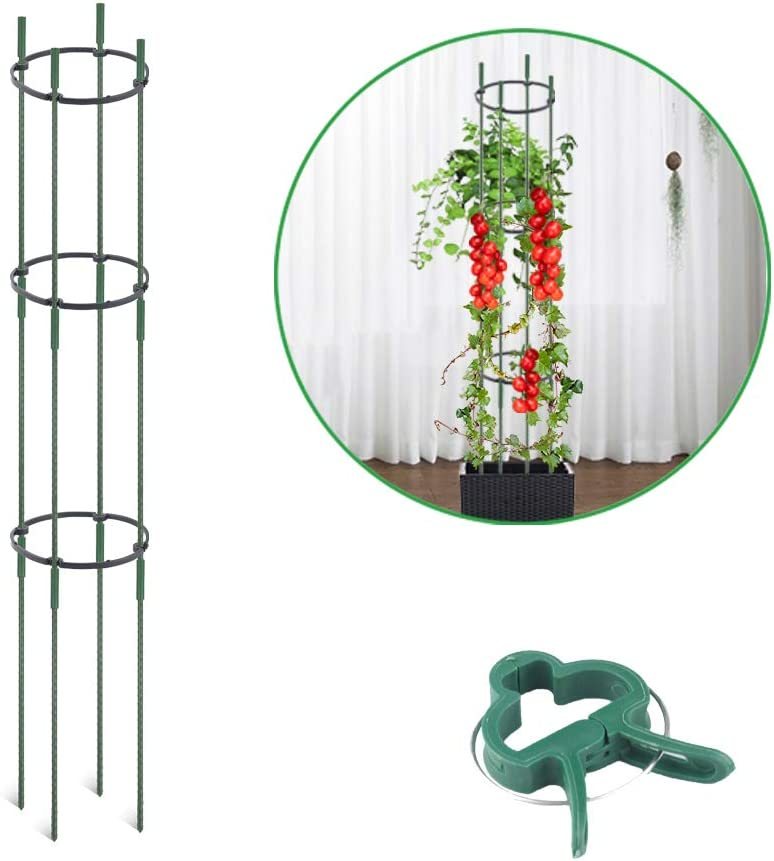 JOYSEUS Tomato Cages, Plant Support Assembled Tomato Garden Stakes, Vegetable Trellis with Clips for Vertical Climbing Plants