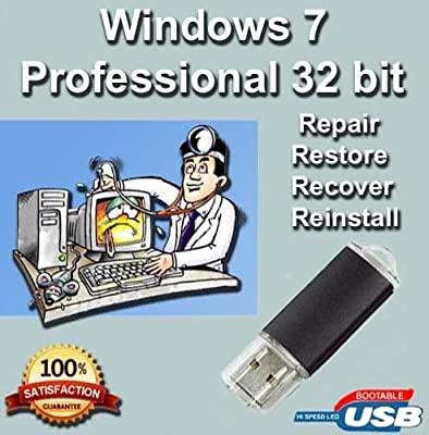 Windows 7 Professional 32-Bit Install | Boot | Recovery | Restore USB Flash Drive Disk Perfect for Install or Reinstall of Windows