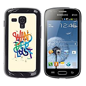 TopCaseStore / la caja del caucho duro de la cubierta de protección de la piel - Wanderlust Text Beige Rainbow Message - Samsung Galaxy S Duos S7562