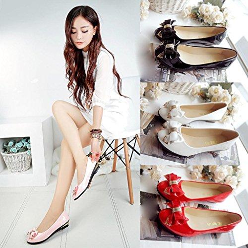 Schuhe Schuhe Frühling Frauen Flache Schuhe Upxiang Rot Schuhe Mode Abendkleid Flache Frauen Ferse Zehe Herbst Fliege Freizeit PqZZTHxz