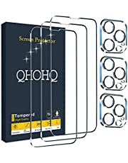 """QHOHQ 3 Pack Screen Protector for iPhone 13 Pro Max 6.7"""" with 3 Packs Camera Lens Protector, HD Full Screen Tempered Glass Film, 9H Hardness, Easy Install - Case Friendly"""
