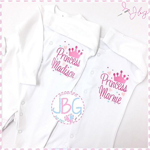 Personalised Princess Crown Baby Pink Sleepsuit