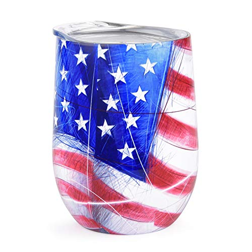 Stainless Steel Stemless Wine Glass Tumbler with Lid, 12 oz | Double Wall Vacuum Insulated Travel Tumbler Cup - Sweat Free, Unbreakable, BPA Free (Flag)