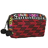 Lovestitch Red Tapestry Embroidered Makeup Case with Pom Pom Tassels