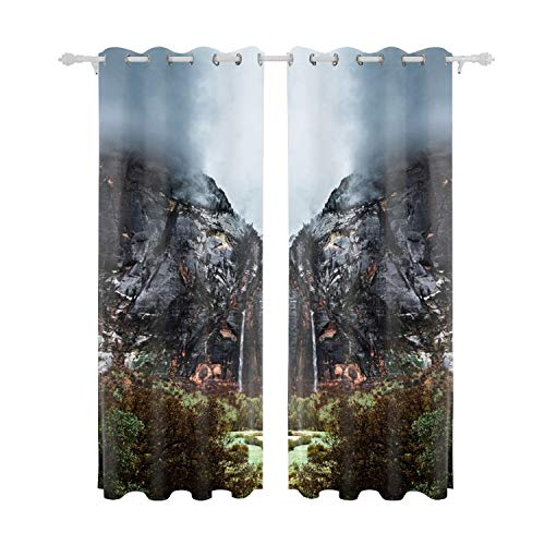 MAYS Landscape Curtains, Zion National Park Emerald Pools Waterfall Living Room Bedroom Window Drapes 2 Panel Set 55W X 84L Inches ()