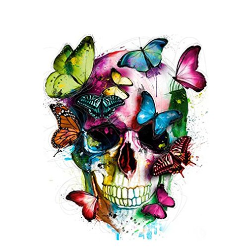 LovetheFamily 数字油絵 数字キット塗り絵 手塗り DIY絵 デジタル油絵 頭蓋骨と蝶 40x50cm ホーム オフィス装飾の商品画像