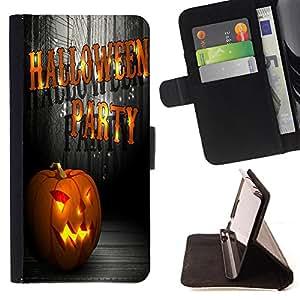 King Case - FOR HTC One M9 - Happy Hallowen to you - Prima caja de la PU billetera de cuero con ranuras para tarjetas, efectivo Compartimiento desmontable y correa para la mu?eca