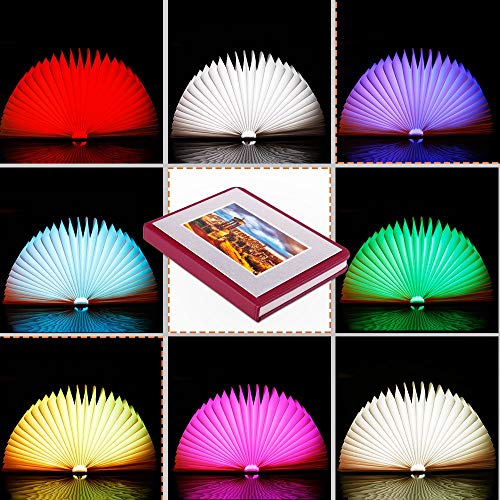 Veesee Mini 8 Colors Folding Book Lamp,Led Book-Shaped Night Light for Valentine's Day Gift,Rechargeable Desk Table Nightstand Bedroom Lamps,Beside Bed Lights(Red Brown)