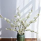 YUYAO Artificial Cherry Blossom Flowers, 4pcs Peach Branches Silk Tall Fake Flower Arrangements for Home Wedding Decoration,41inch (White)