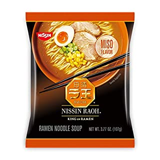 Nissin RAOH, Miso Flavor, Authentic Japanese-Style Ramen, 3.77oz. (6-Count), Set of 2