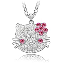 Silver Crystal Diamond Accent Cat Pendant Chain Necklace for women teenage girls kids children, With A Gift Box, Made with SWAROVSKI Crystal, Ideal Gift for Birthdays / Christmas / Wedding