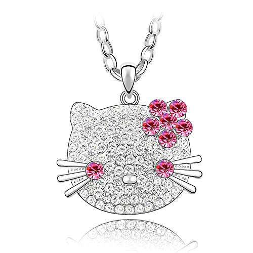 Silver Crystal Diamond Accent Cat Pendant Chain Necklace for Women, with a Gift Box, Made with SWAROVSKI Crystal, Rose -