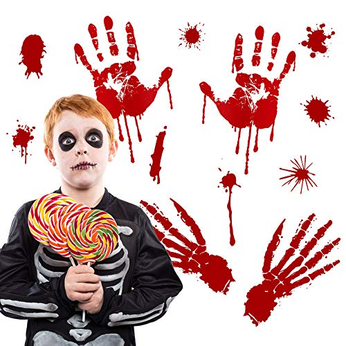 Lovewe Halloween Wall Sticker,Scary Bloody Footprints Floor Clings,Vampire Zombie Party Decor Decals Stickers 30x45cm (A)