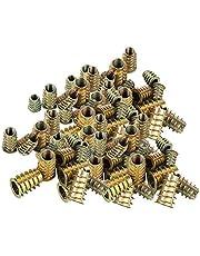 100 STKS Zinklegering Inbusbout Inschroefmoeren, Moerenset met Binnen- en Buitentanden, Hoge Precisie Inbusmoeren Kit, voor Houten Meubels (M4 / M5 / M6 / M8)