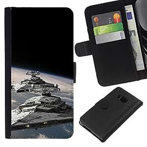 LECELL--Cuero de la tarjeta la carpeta del tirón Smartphone Slots Protección Holder For HTC One M7 -- Destructores Estelares --